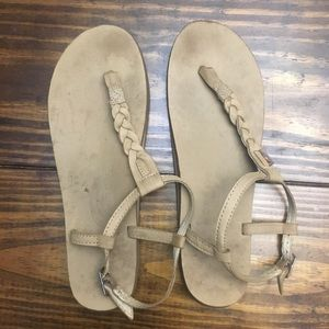 Rainbow Tan Brown T Strap Sandals